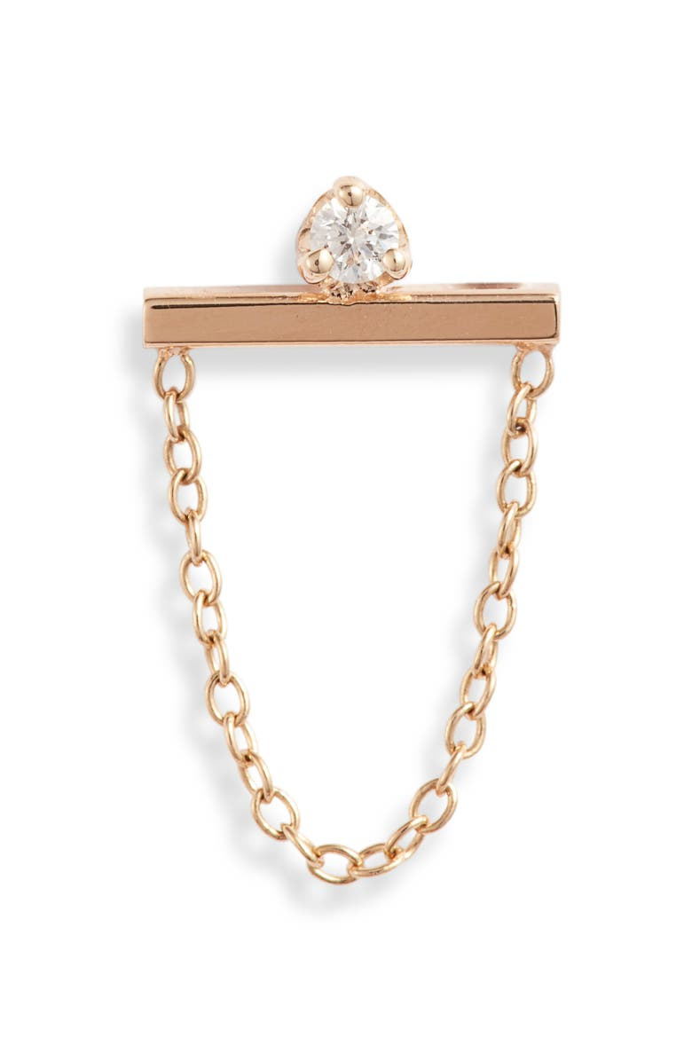 ZOË CHICCO Single Diamond Bar & Chain Earring, Main, color, YELLOW GOLD/ DIAMOND