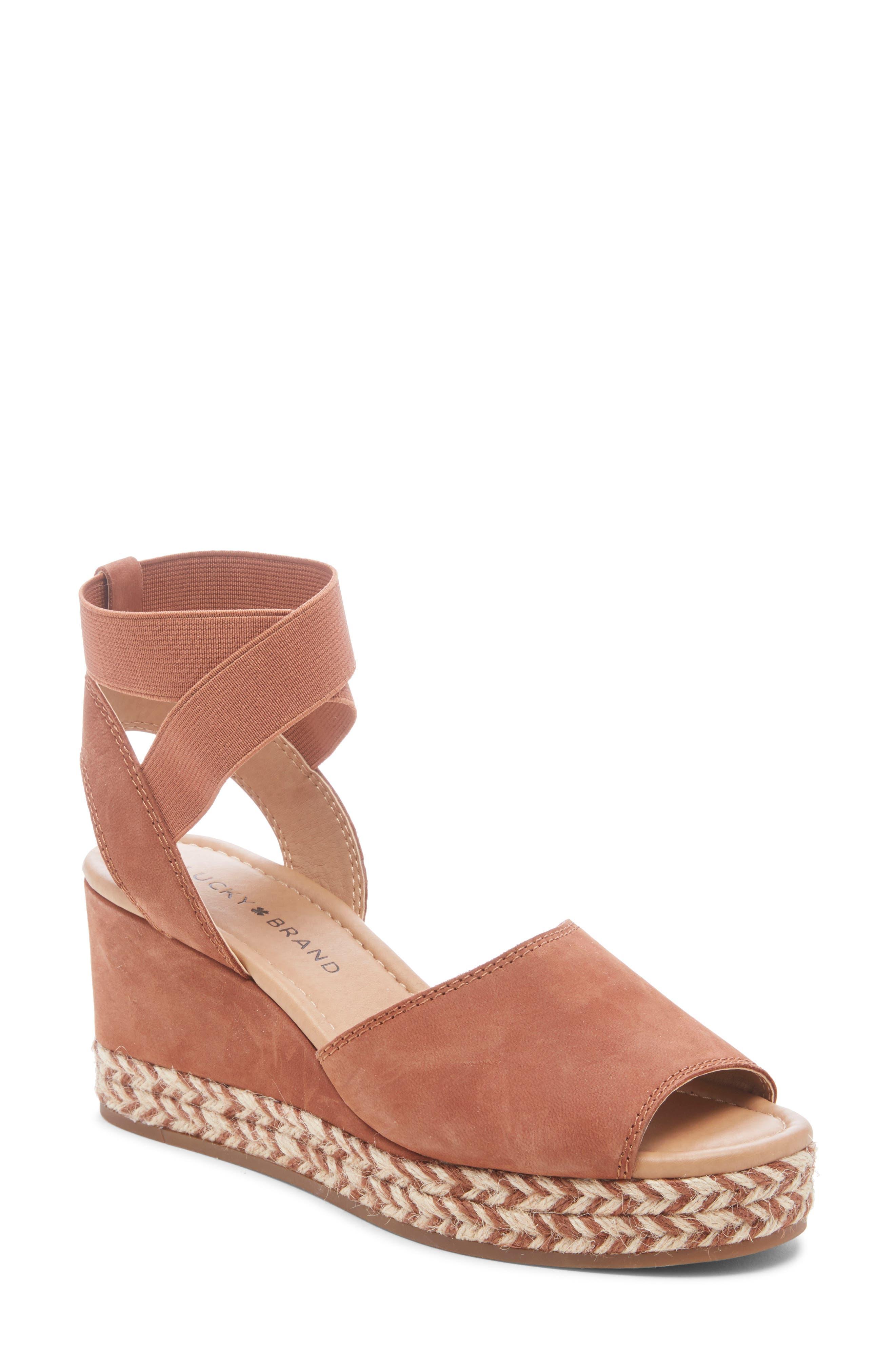 Lucky Brand Bettanie Espadrille Wedge Sandal, Brown
