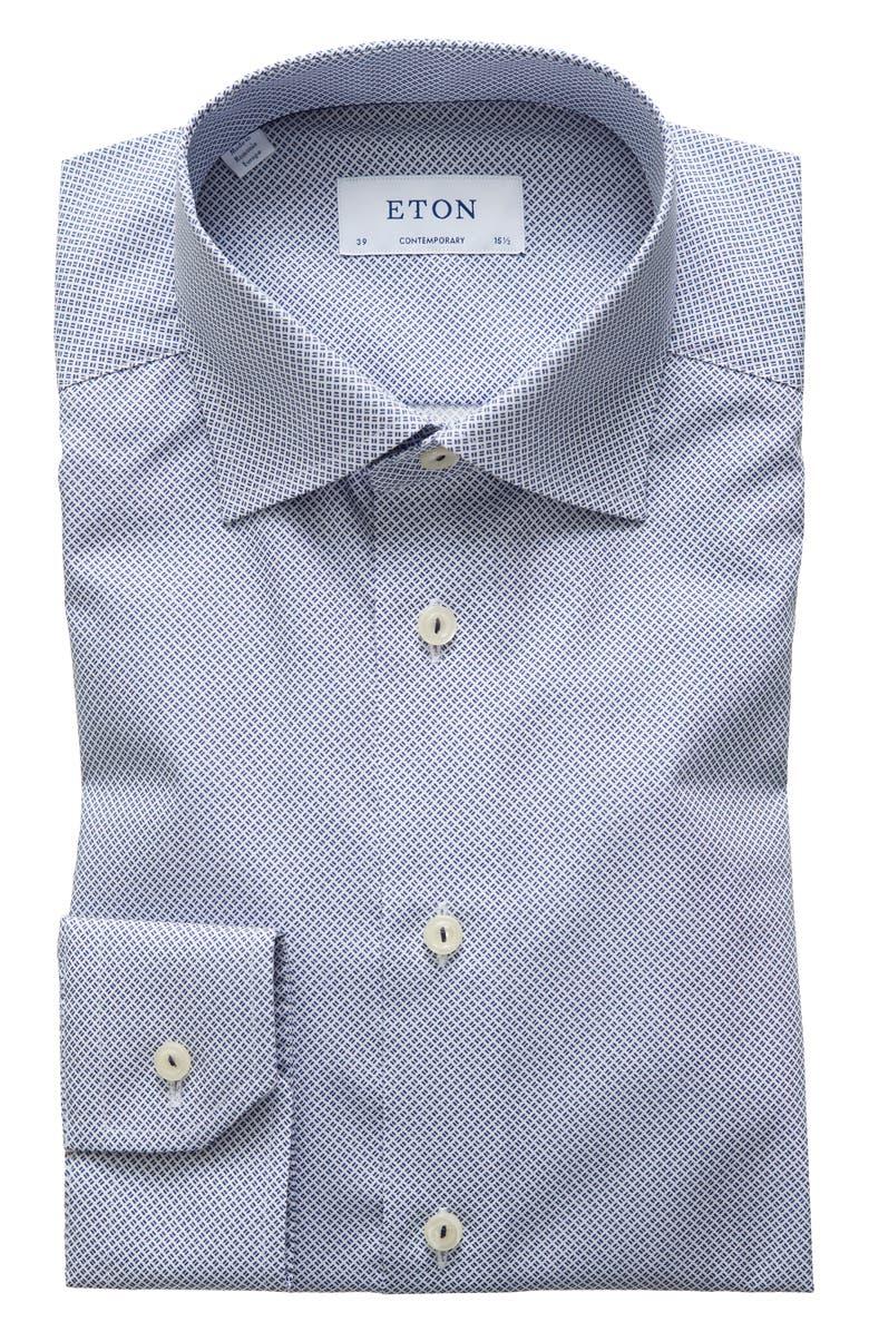 ETON Contemporary Fit Dress Shirt, Main, color, NAVY