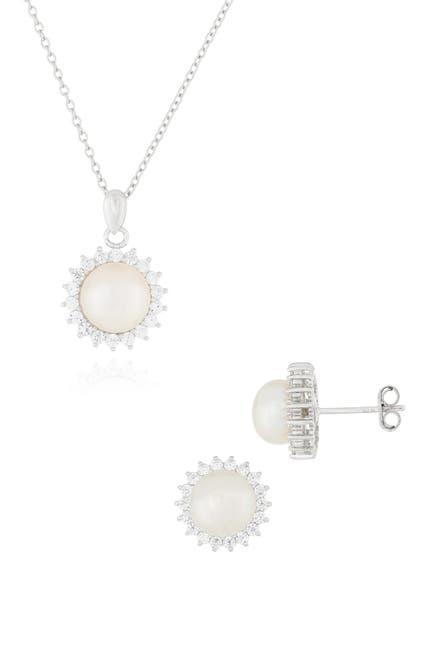 Image of Splendid Pearls CZ Halo Freshwater Pearl Set