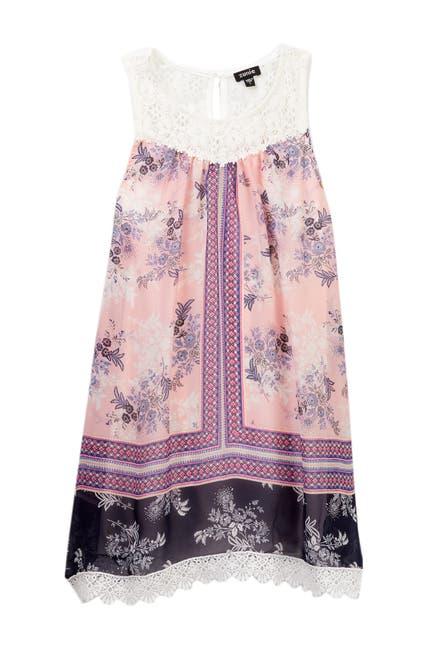 Image of Zunie Crochet Contrast Printed A-Line Dress