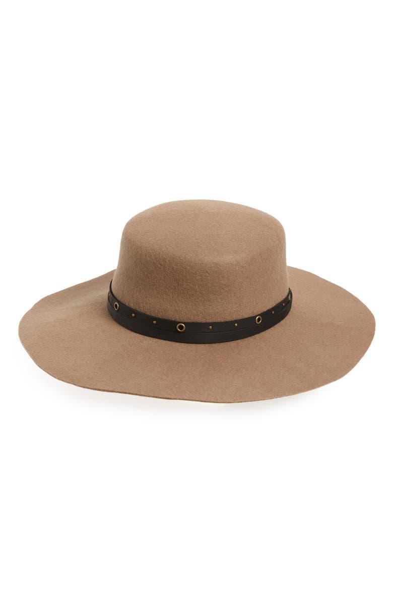 FRYE Studded Belt Wool Felt Boater Hat, Main, color, MUSHROOM