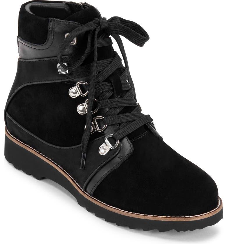 BLONDO Ramona Waterproof Lace-Up Boot, Main, color, BLACK MULTI SUEDE
