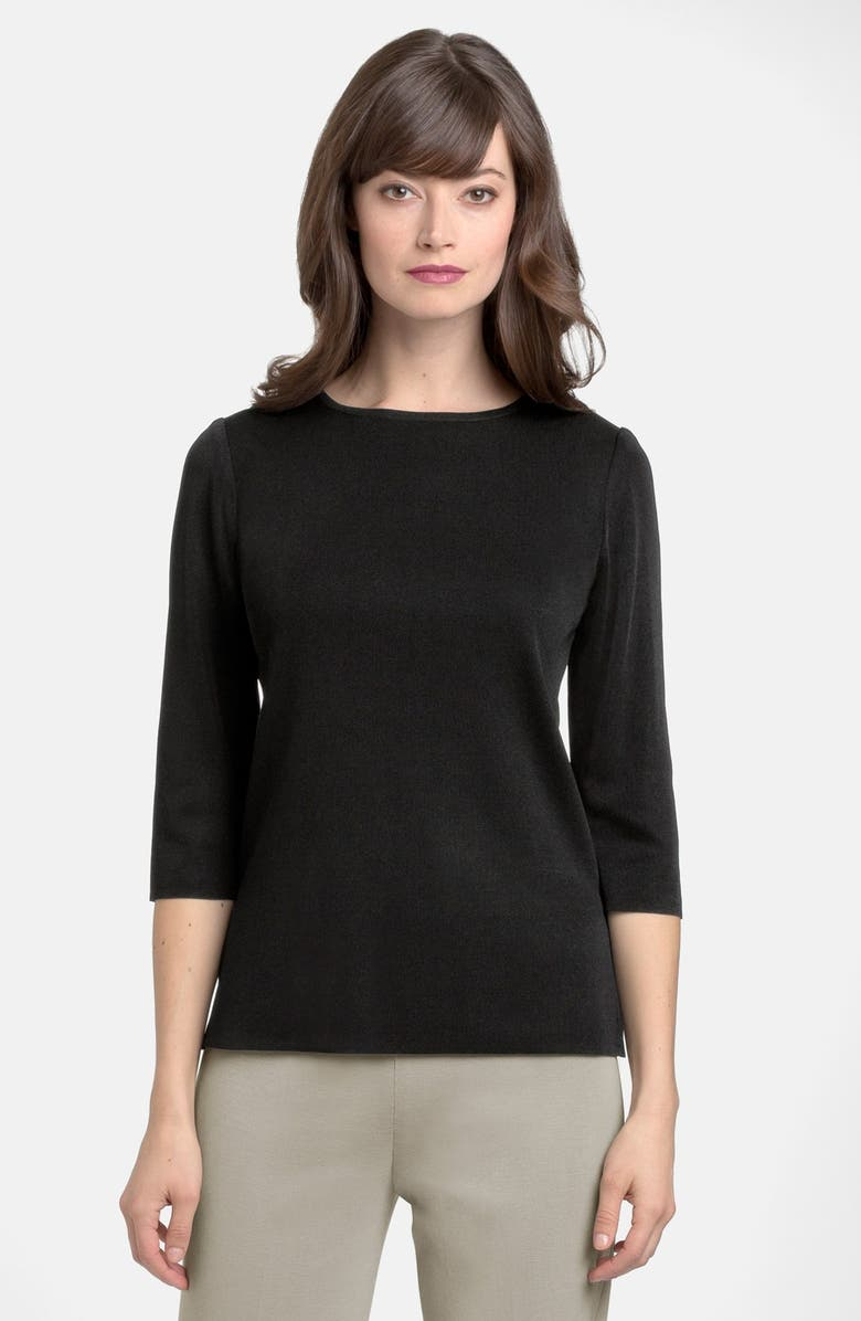 MING WANG Three Quarter Sleeve Crewneck Knit Shell, Main, color, BLACK
