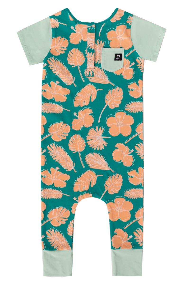 RAGS Hibiscus Print Short Sleeve Romper, Main, color, 300