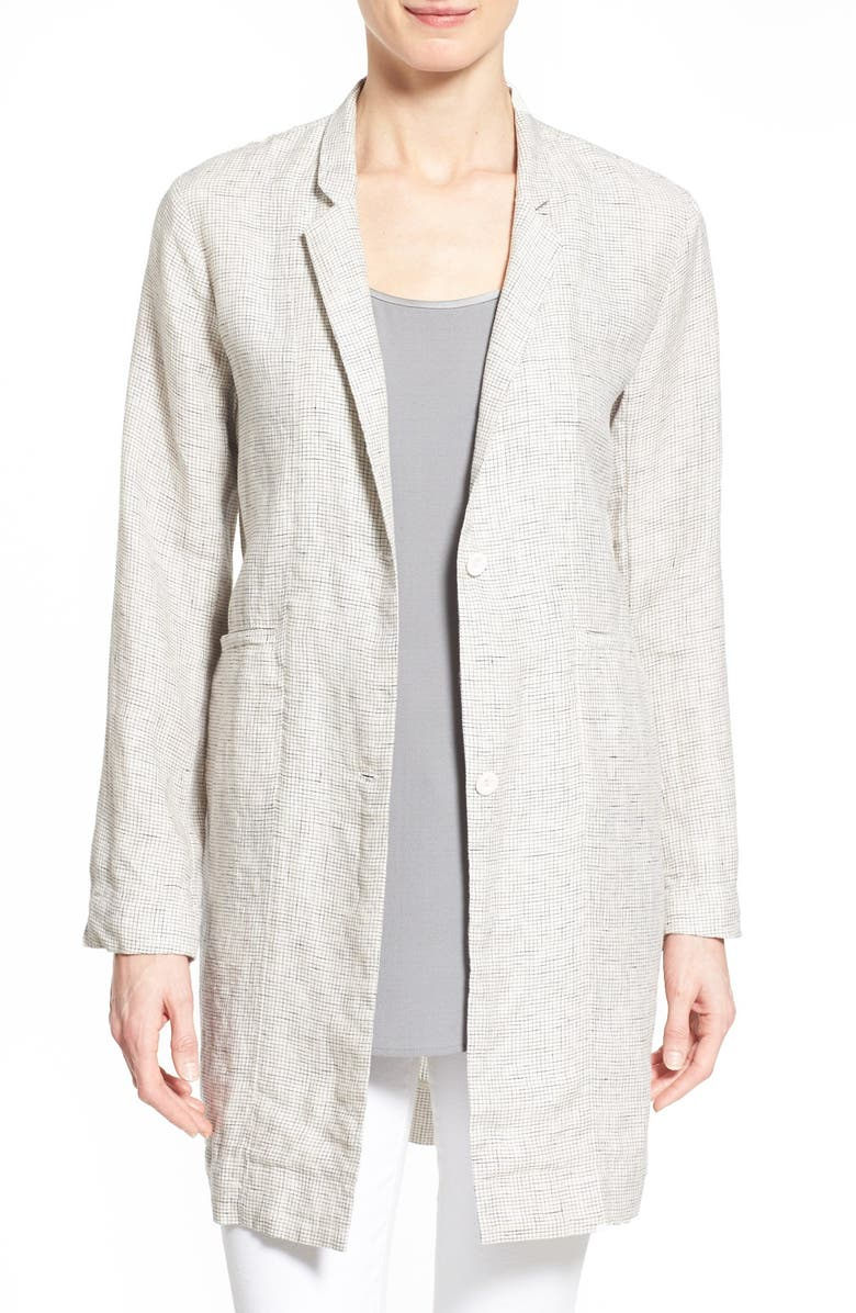 EILEEN FISHER Notch Collar Long Jacket, Main, color, 103