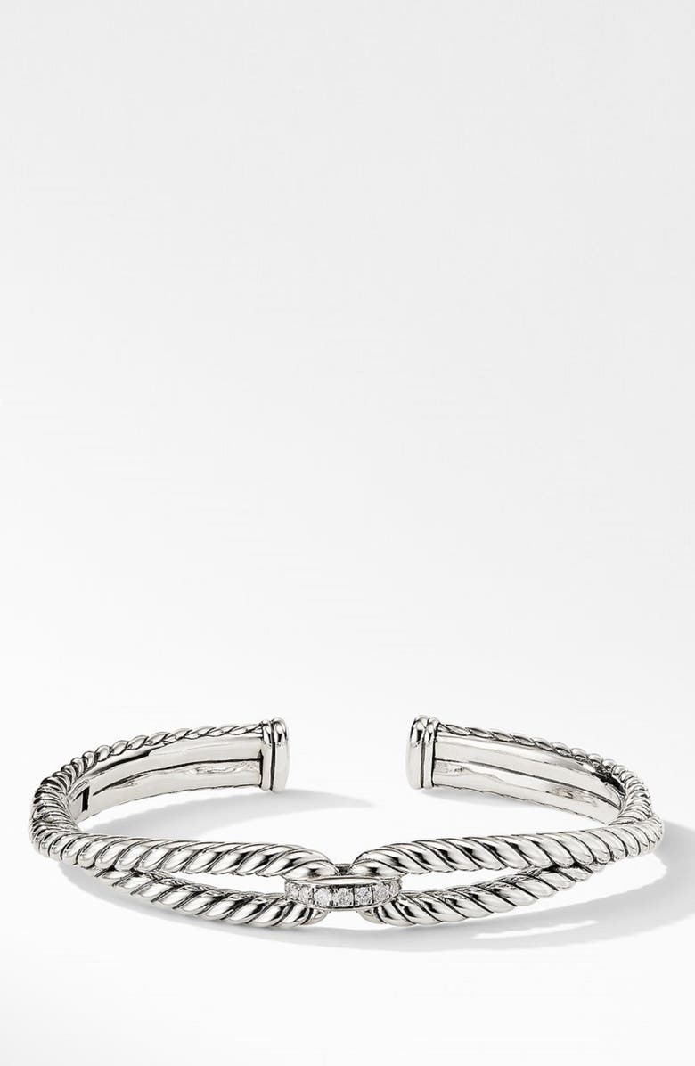 DAVID YURMAN Cable Loop Bracelet with Diamonds, Main, color, STERLING SILVER/ DIAMOND