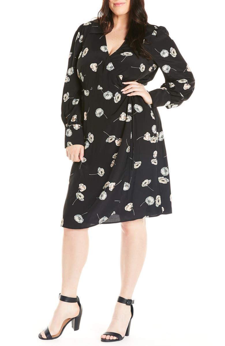 ESTELLE Poppy Drop Long Sleeve Wrap Dress, Main, color, PRINT