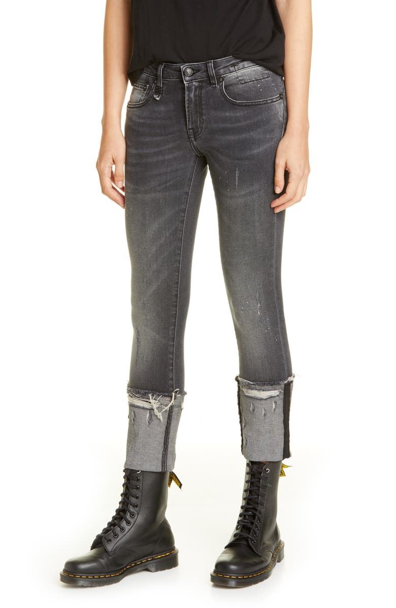 R13 Kate Cuffed Skinny Jeans, Main, color, ORION BLACK