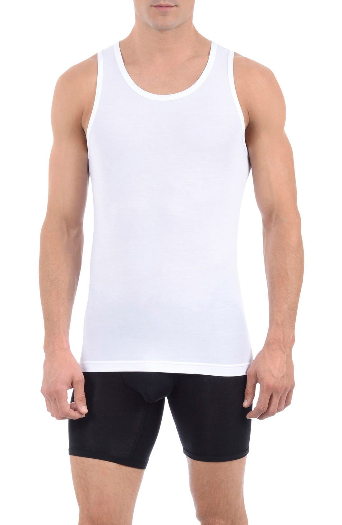 Second Skin Tank Undershirt, Main, color, WHITE