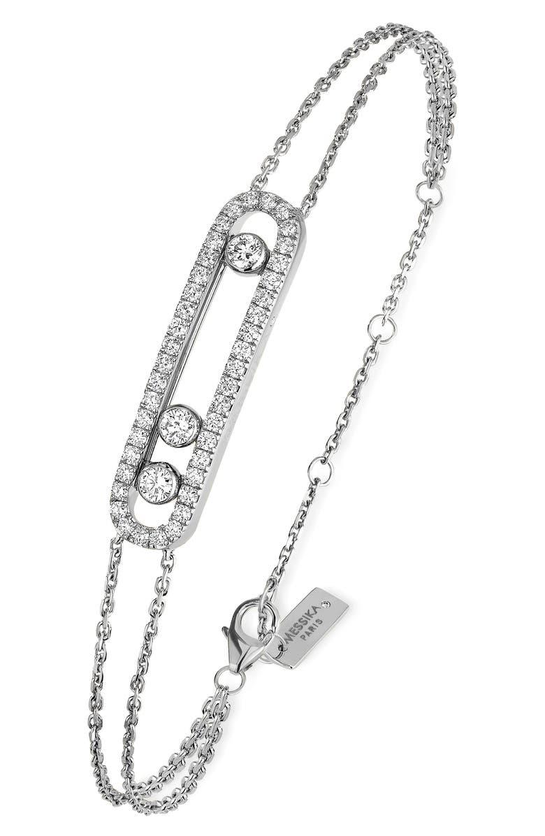 MESSIKA Baby Pavé Move Two-Strand Diamond Bracelet, Main, color, WHITE GOLD