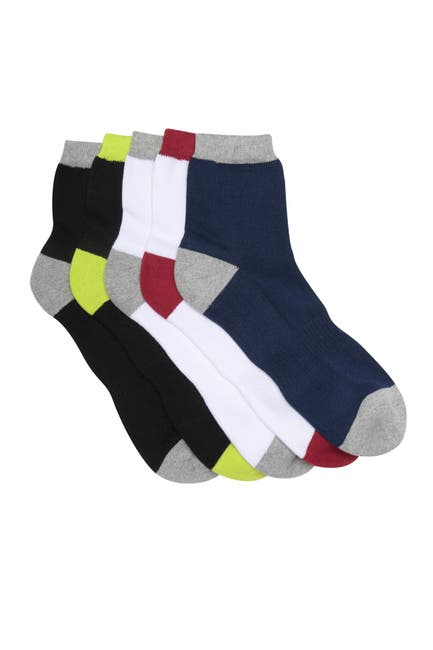 Image of Lorenzo Uomo Colorblocked Quarter Crew Socks - Pack of 5
