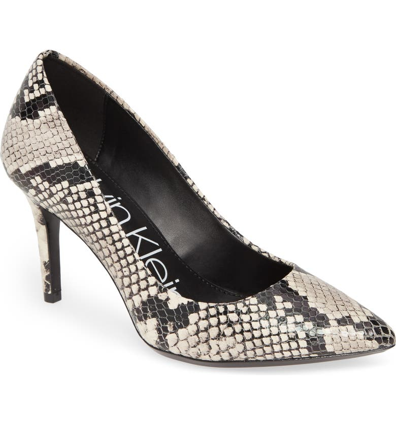 CALVIN KLEIN 'Gayle' Pointy Toe Pump, Main, color, NATURAL SNAKE PRINT LEATHER