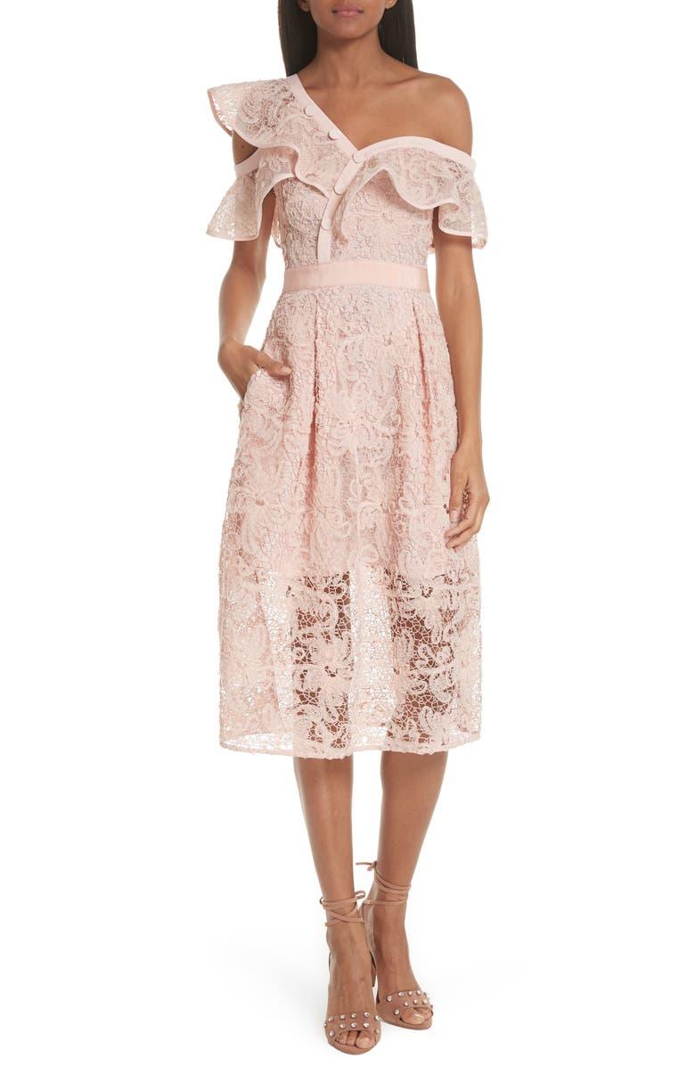 SELF-PORTRAIT Lace Shoulder Cutout Midi Dress, Main, color, 650