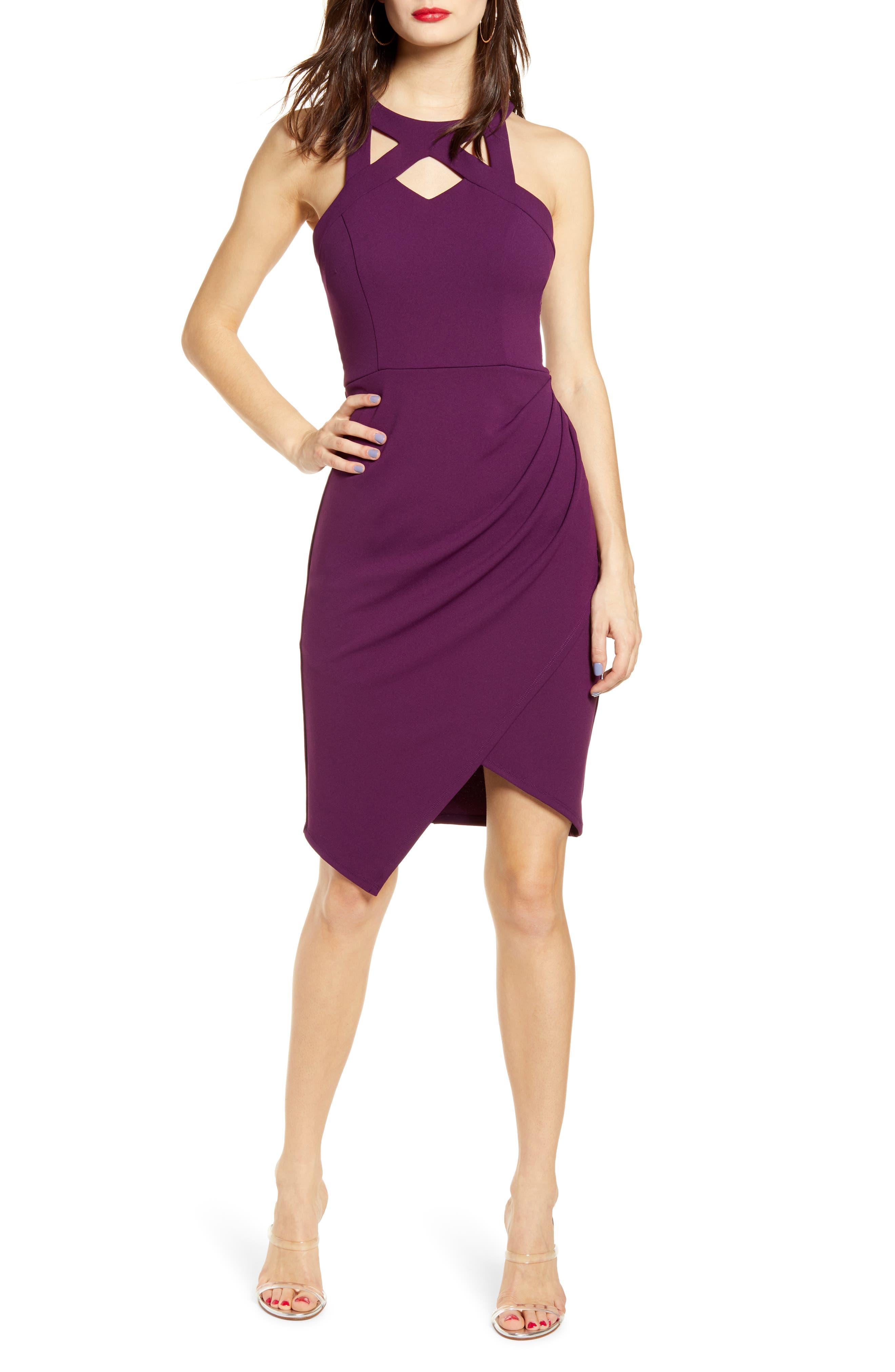 Speechless Reorder Lace Back Dress, Purple