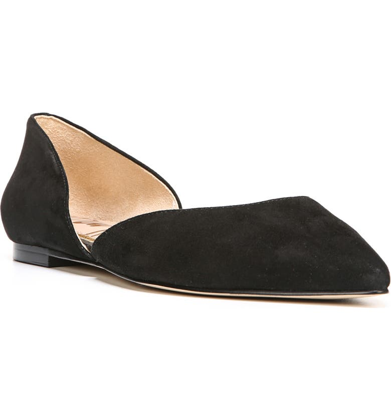 SAM EDELMAN Rodney Pointy Toe d'Orsay Flat, Main, color, BLACK SUEDE