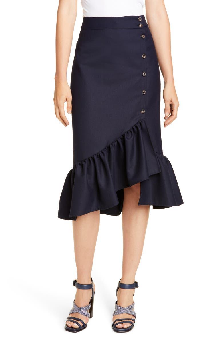 BAUM UND PFERDGARTEN Ruffle Asymmetrical Hem Skirt, Main, color, NIGHT SKY
