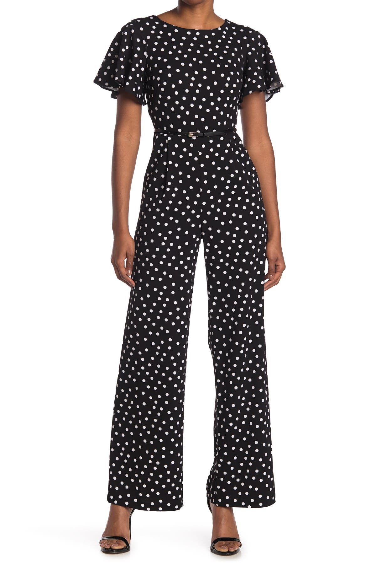 Image of Calvin Klein Flutter Short Sleeve Dash Print Jumpsuit