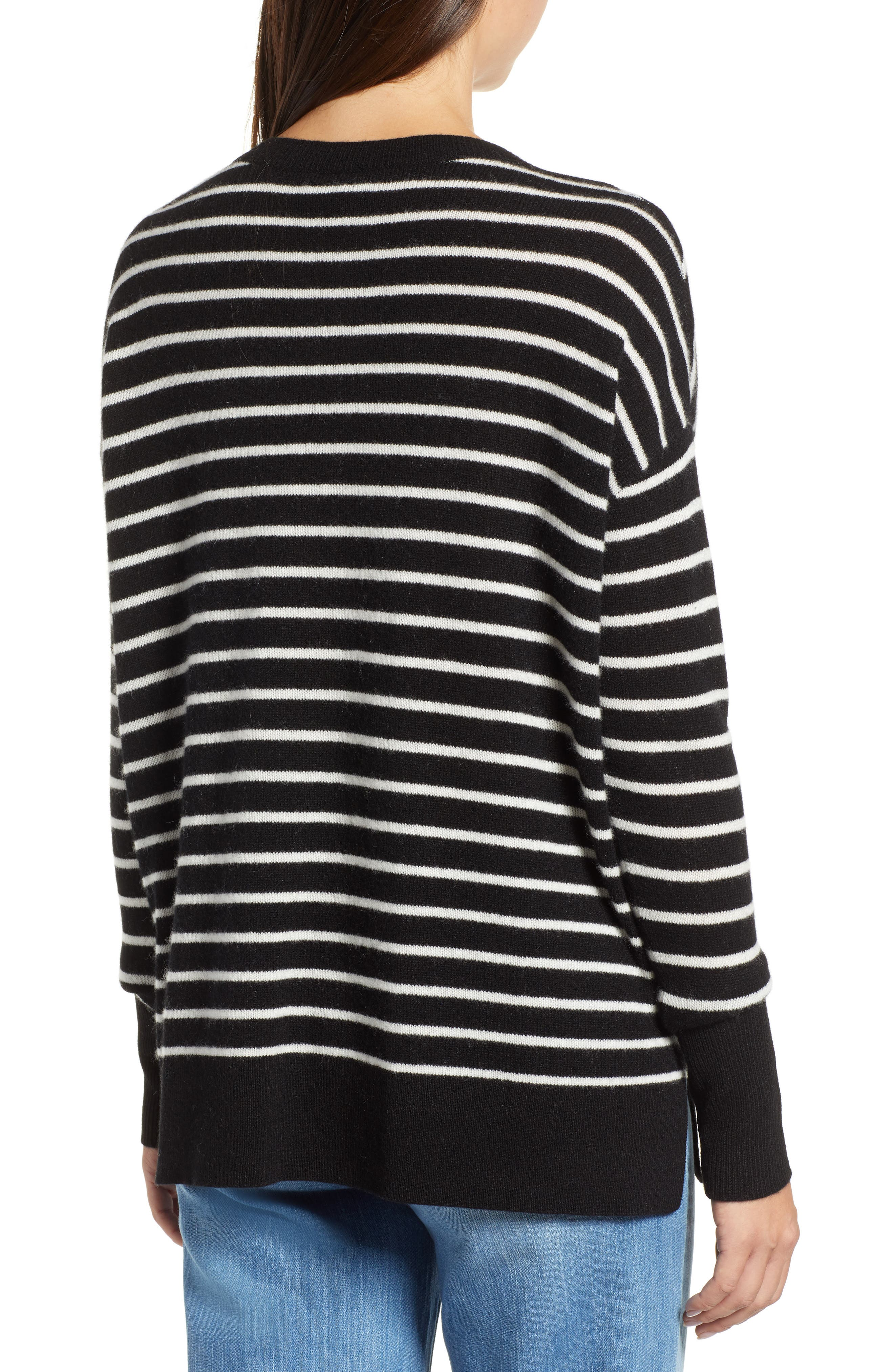 ,                             Relaxed V-Neck Cashmere Sweater,                             Alternate thumbnail 16, color,                             002