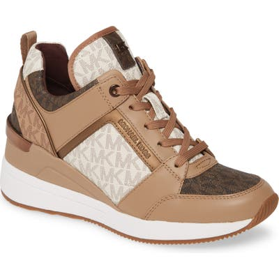 Michael Michael Kors Georgie Wedge Sneaker, Brown