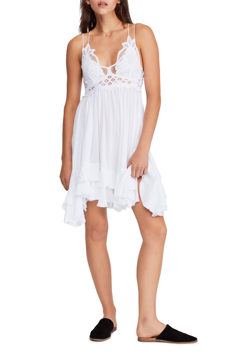 FREE PEOPLE Intimately FP Adella Frilled Chemise, Main, color, WHITE