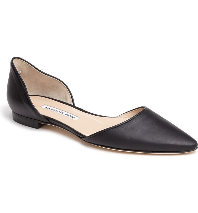 MANOLO BLAHNIK 'Soussaba' Leather Pointed Toe Flat, Main, color, 001