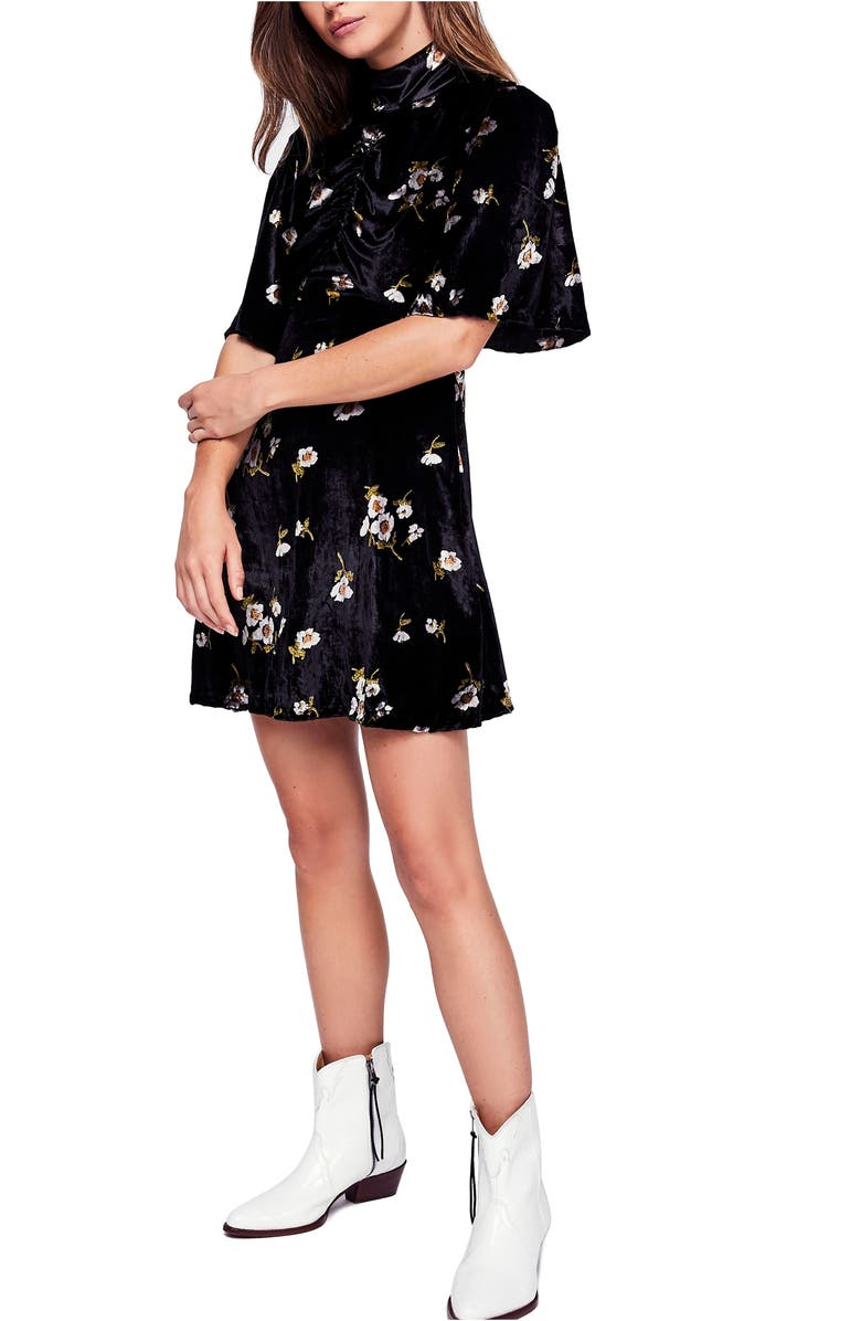 FREE PEOPLE Be My Baby Velvet Dress, Main, color, 001