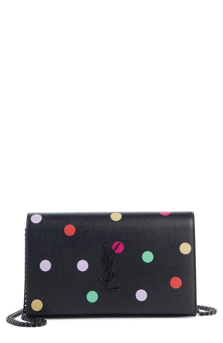 SAINT LAURENT Confetti Print Leather Wallet on a Chain, Main, color, NOIR/ MULTI