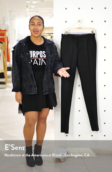 Josh Flat Front Wool & Mohair Tuxedo Pants, sales video thumbnail