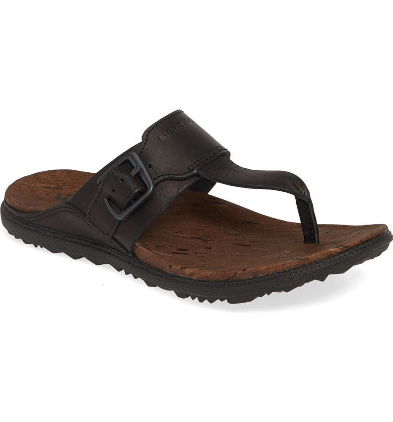 MERRELL Around Town Flip Flop, Main, color, BLACK LEATHER