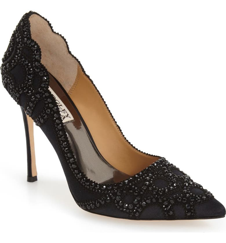 BADGLEY MISCHKA COLLECTION Badgley Mischka 'Rouge' Pointy Toe Pump, Main, color, BLACK SATIN