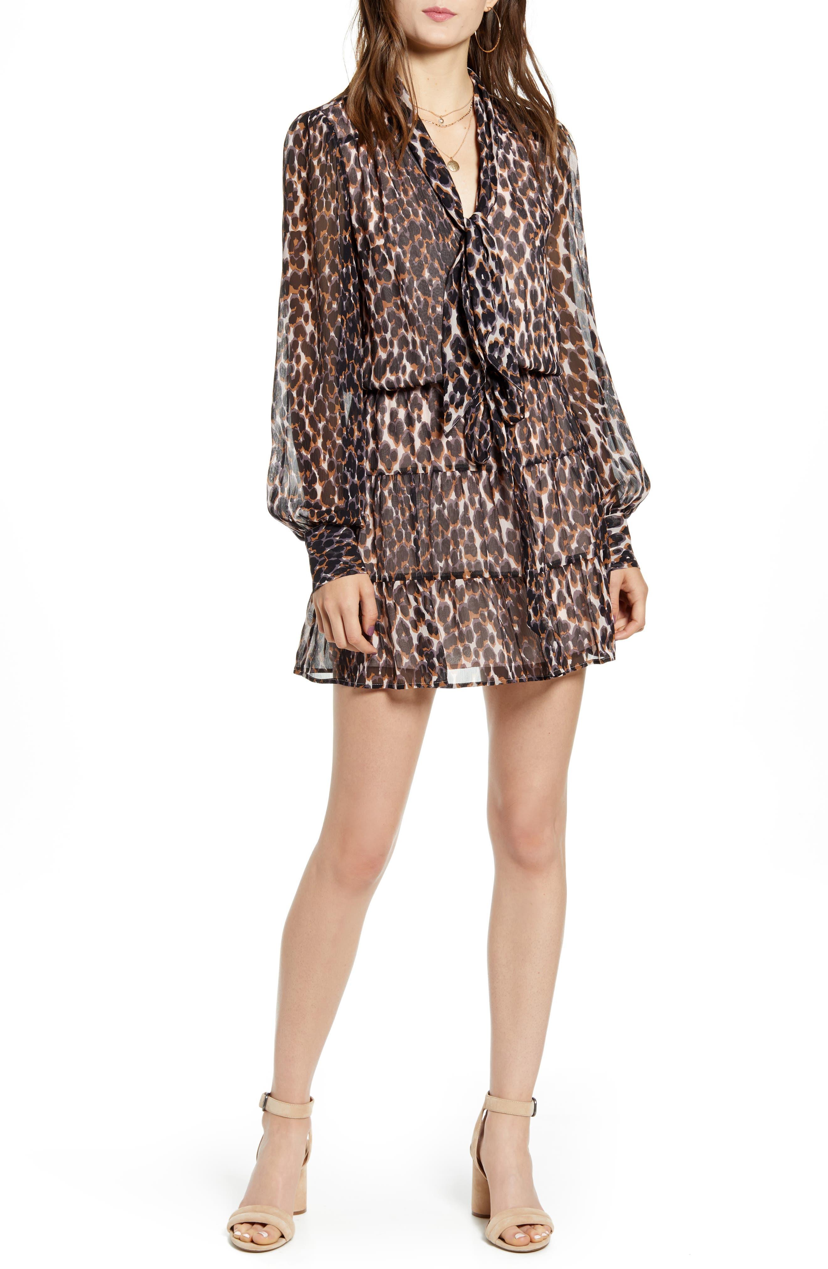 Paige Cleobelle Ruffle Minidress, Brown