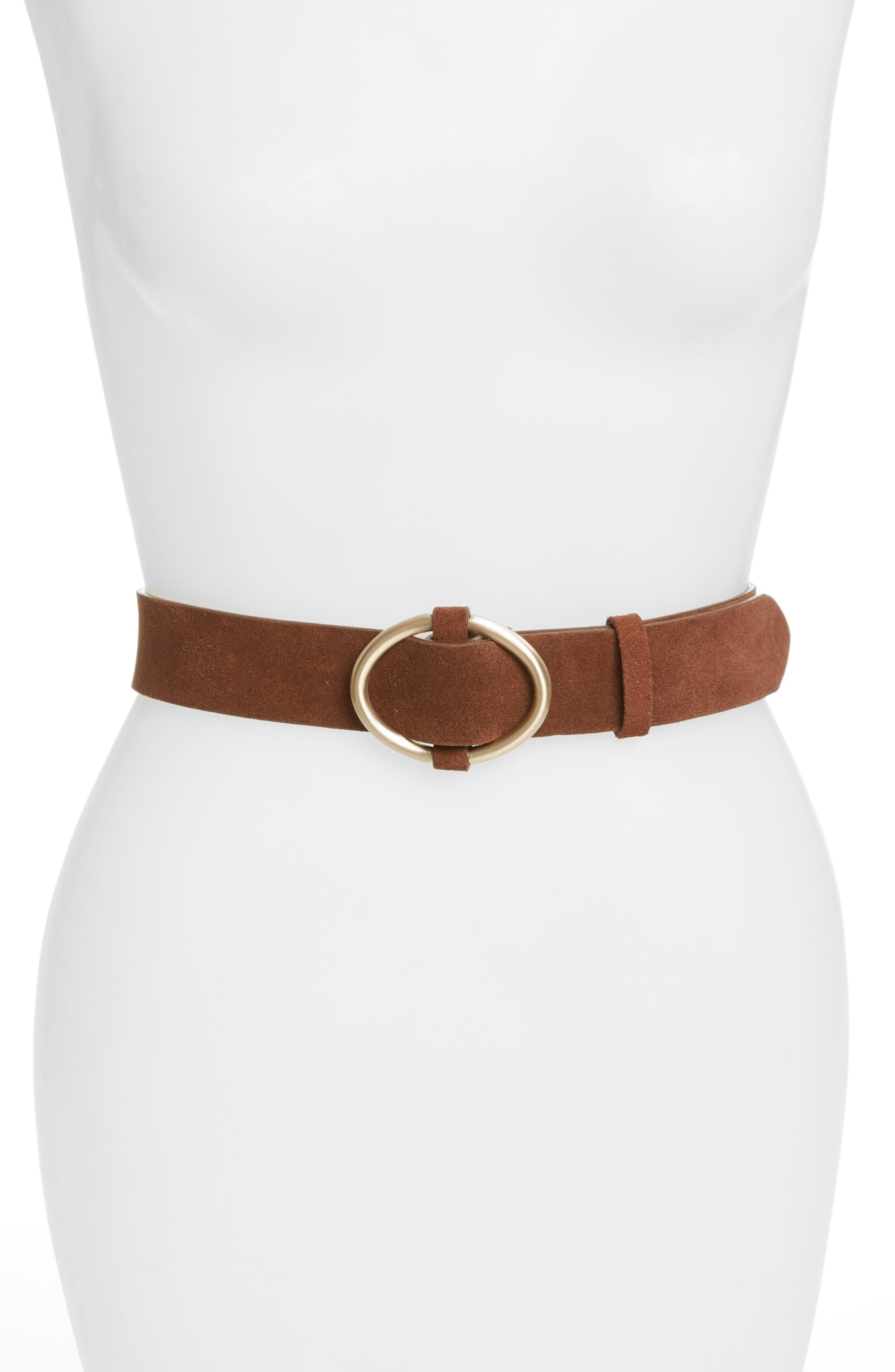 Oval Buckle Suede Belt, Main, color, COGNAC