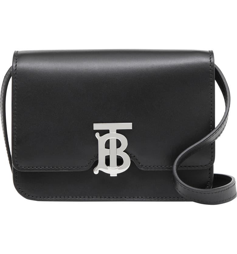 BURBERRY Mini TB Leather Crossbody Bag, Main, color, BLACK