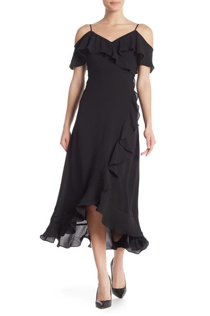 Image of London Times Ruffle Cold Shoulder Maxi Dress