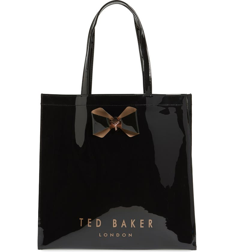 TED BAKER LONDON 'Large Plain Bow Icon' Tote, Main, color, 001