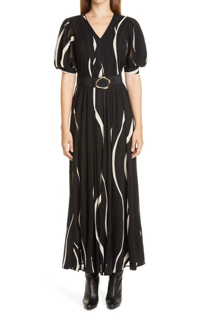 Lafayette 148 SUTHERLAND WAVE PANEL BELTED DRESS