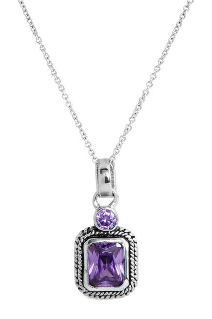 Image of Savvy Cie Sterling Silver Double Amethyst Drop Pendant Necklace