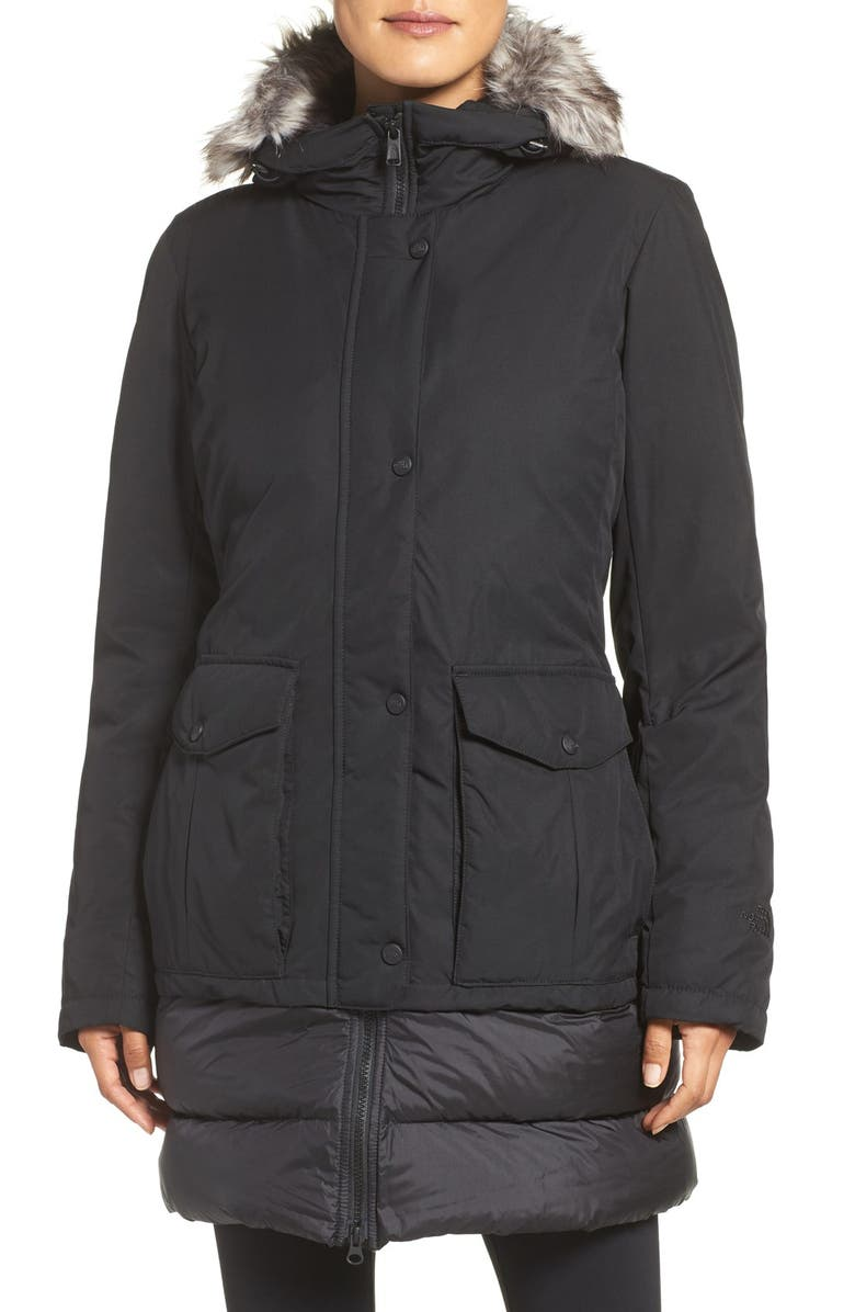THE NORTH FACE Tuvu Water Repellent Parka with Faux Fur Trim, Main, color, 001