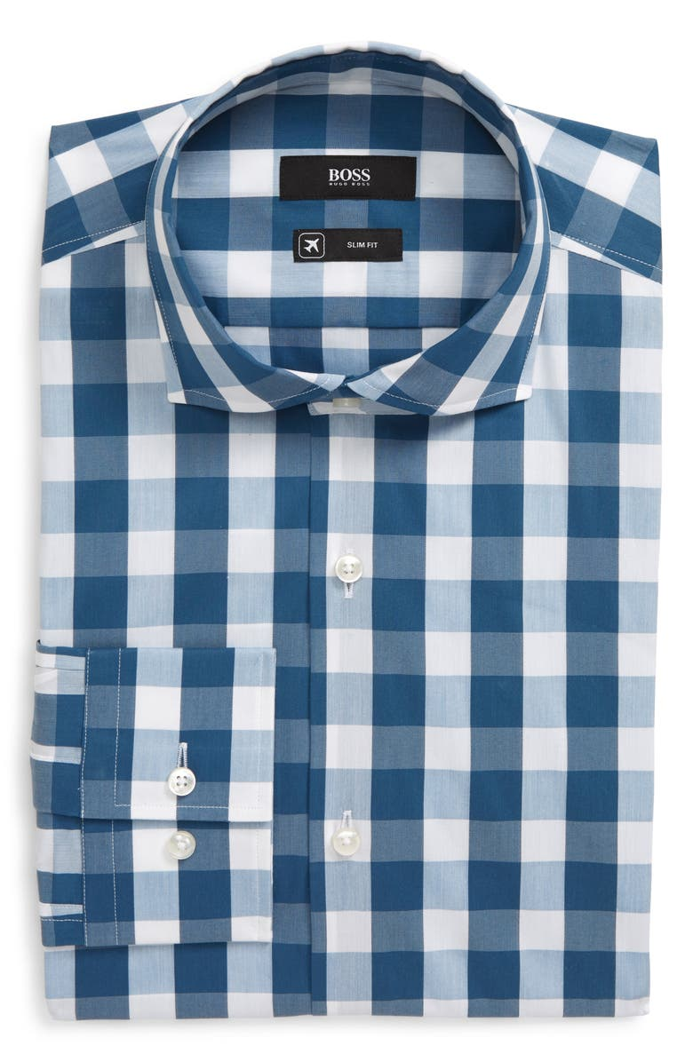 BOSS Slim Fit Stretch Check Dress Shirt, Main, color, TEAL