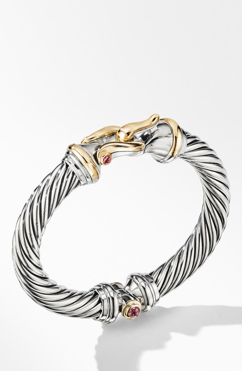 DAVID YURMAN Cable Buckle Bracelet with 18K Yellow Gold and Rhodalite Garnet, Main, color, RHODOLITE GARNET