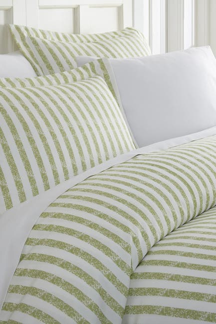 Image of IENJOY HOME Home Spun Premium Ultra Soft 3-Piece Puffed Rugged Stripes Duvet Cover King Set - Sage