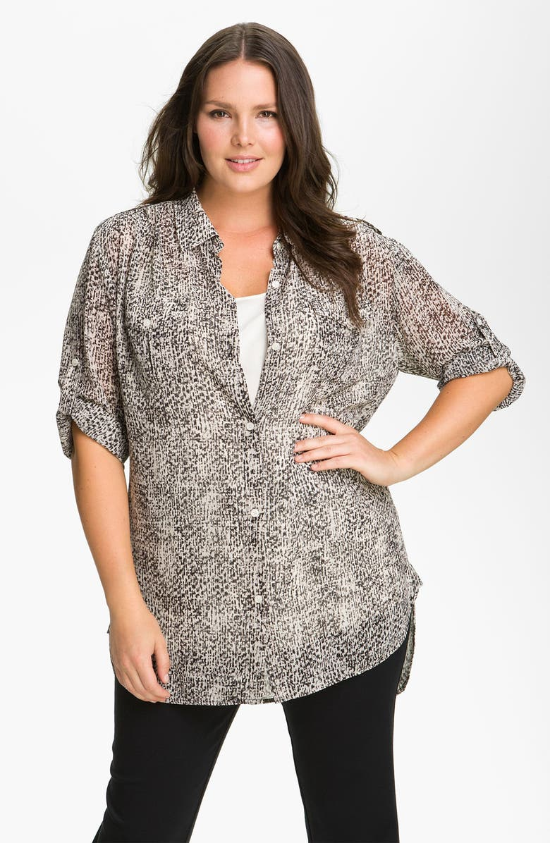 DKNYC Tweed Print Button Up Shirt, Main, color, 250