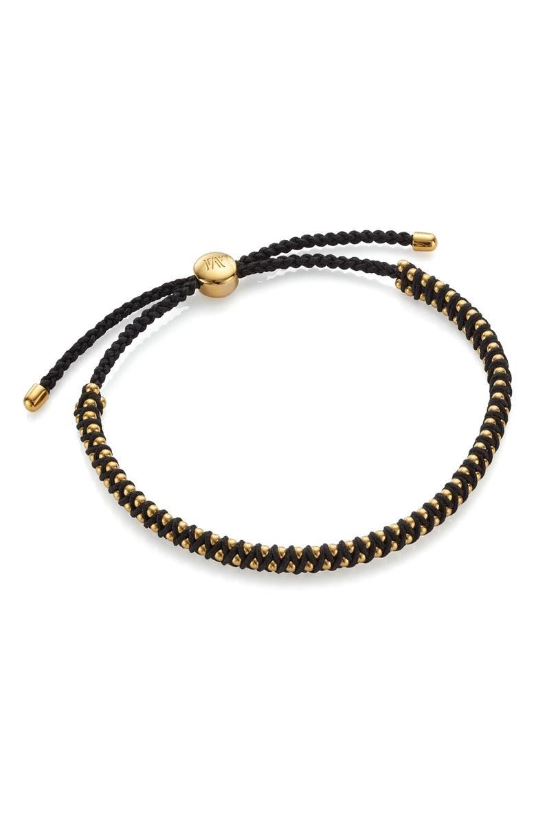 MONICA VINADER Mini Rio Friendship Bracelet, Main, color, YELLOW GOLD/ BLACK