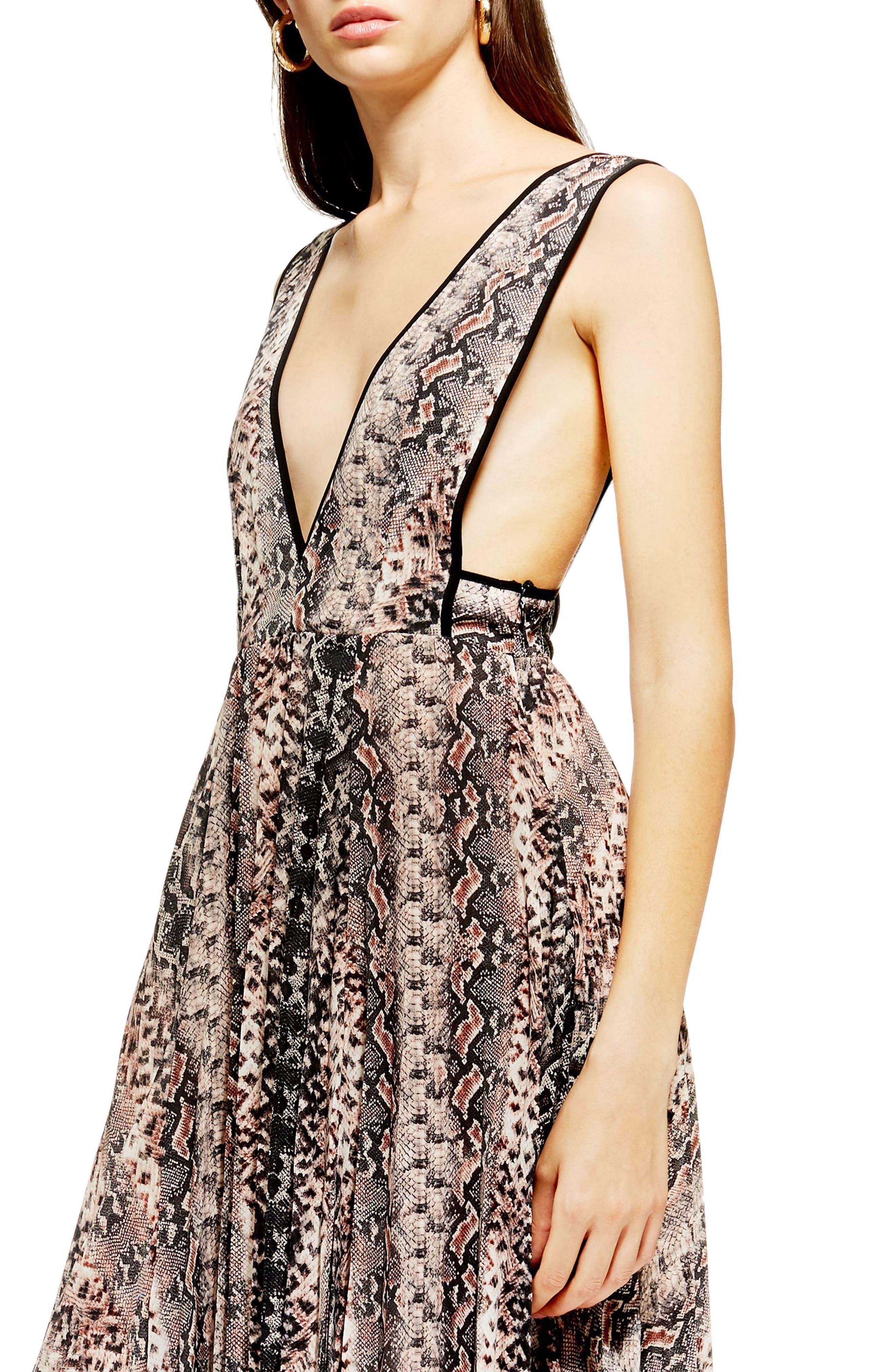 ,                             Snake Print Pleated Dress,                             Alternate thumbnail 4, color,                             PINK MULTI