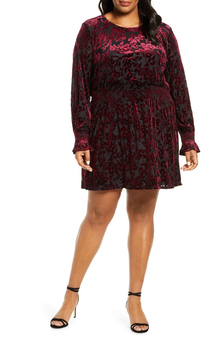 GIBSON x Glam Tara Gibson Flocked Velvet Long Sleeve Date Dress, Main, color, 649
