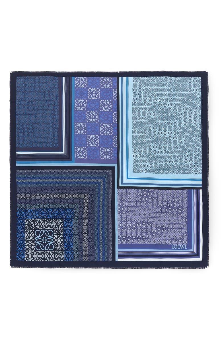 LOEWE Patchwork Print Silk Square Scarf, Main, color, BLUE
