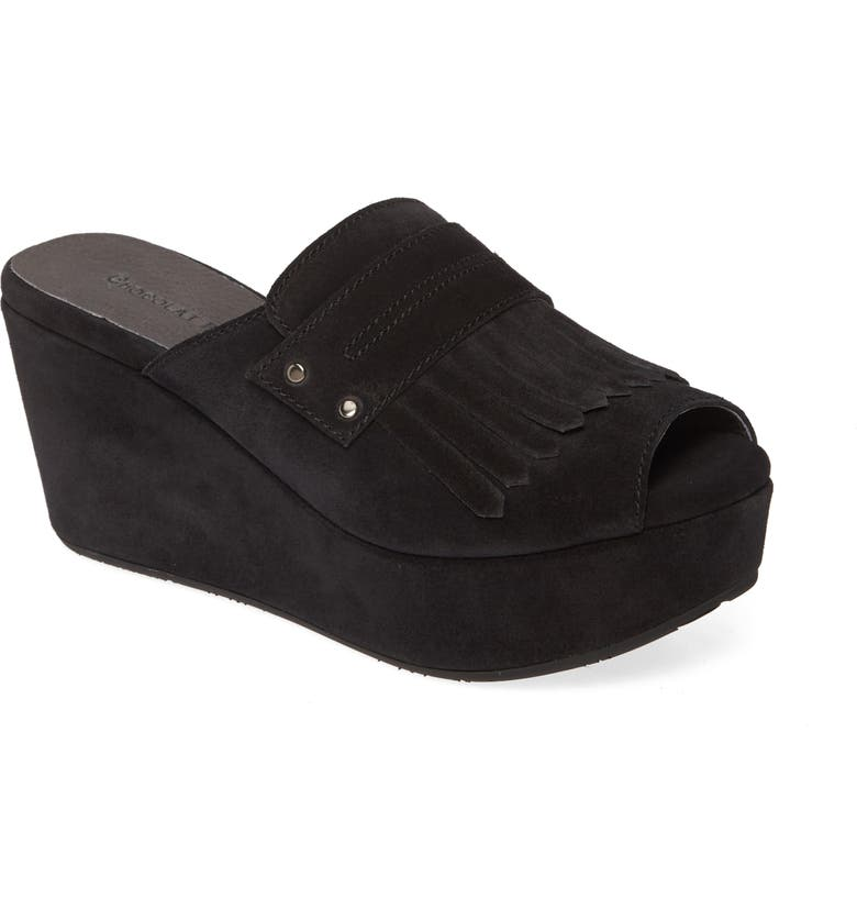CHOCOLAT BLU Welsy Peep Toe Platform Slide Sandal, Main, color, BLACK SUEDE