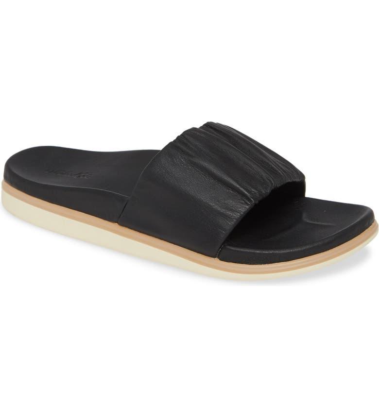 OLUKAI Pihapiha Slide Sandal, Main, color, BLACK LEATHER