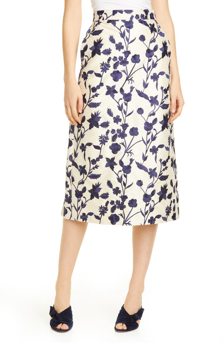BROCK COLLECTION Floral Embroidered Pencil Skirt, Main, color, NATURAL